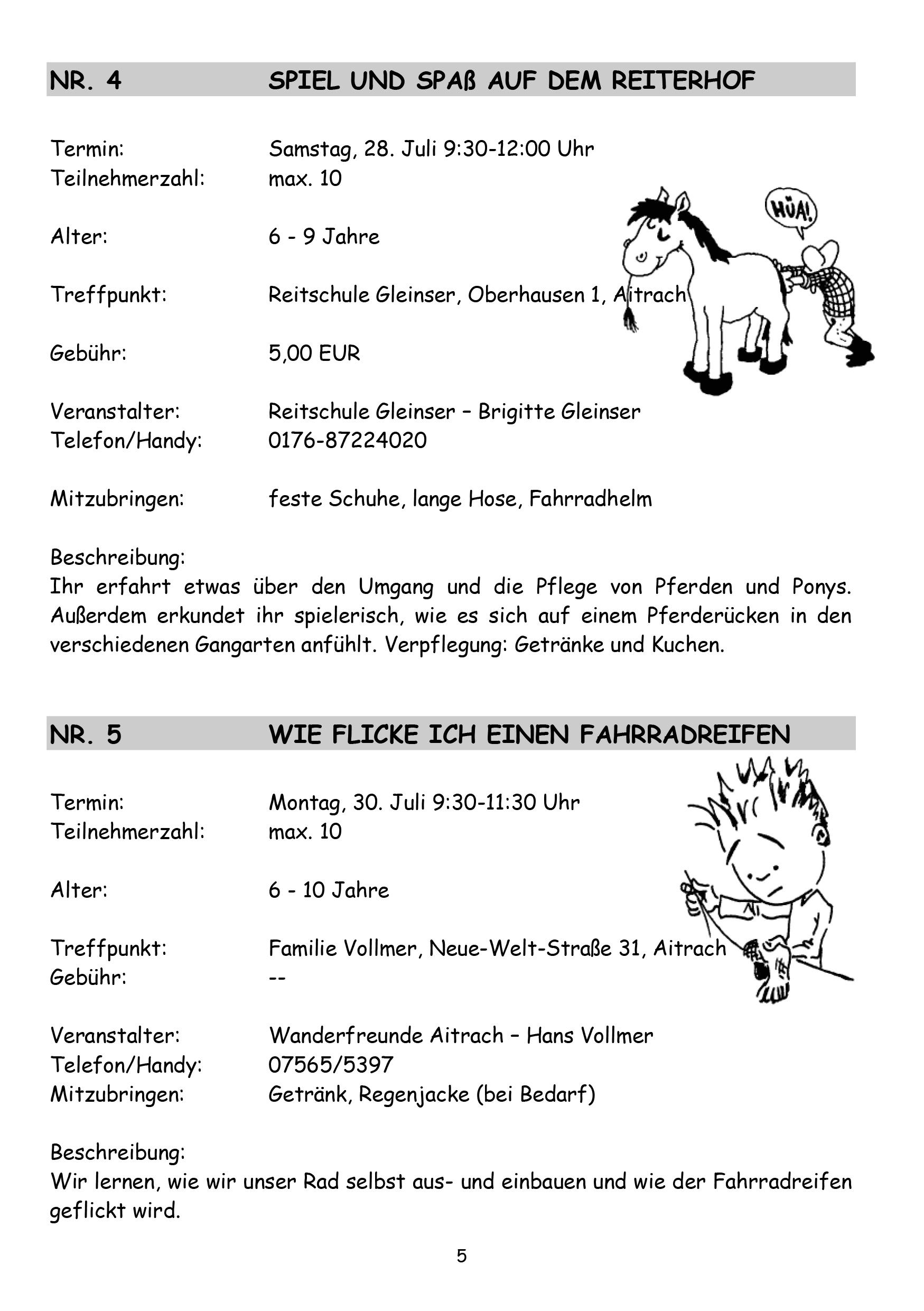 Sommerferienprogramm Gemeinde Aichstetten